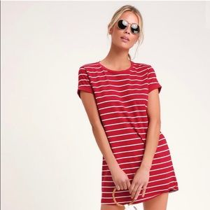 CAFE SOCIETY RED AND WHITE STRIPED SHIRT DRESS